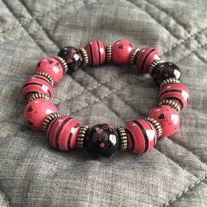 Jewelry - Pink and Black Wooden Chunky Beaded Bracelet